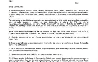 Receita Federal começa a enviar cartas sobre inconsistências no Imposto de Renda 2021